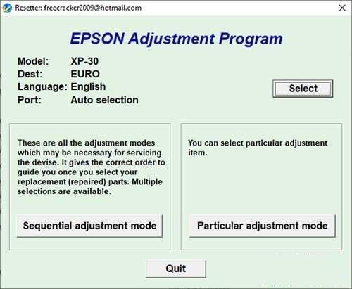 Descargar programa de ajuste de reinicio de Epson XP-30