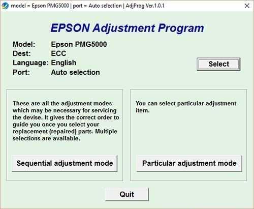 Resetear impresora Epson PictureMate PM-G5000