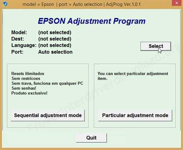 Programa de reinicio de tintas de Impresoras Epson