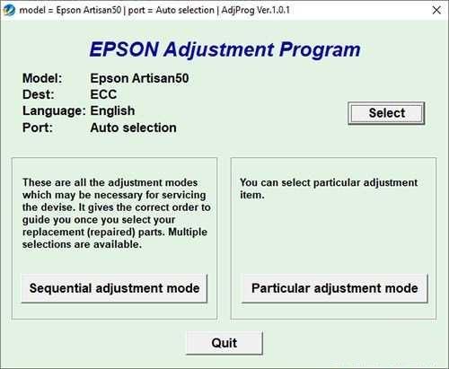 Resetear impresora Epson Artisan 50