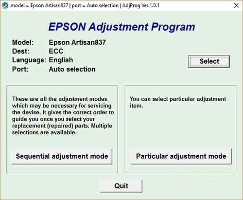 Resetear impresora Epson Artisan 837