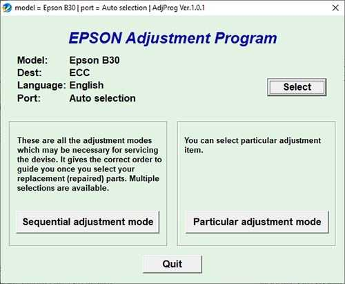 Resetear impresora Epson B-30
