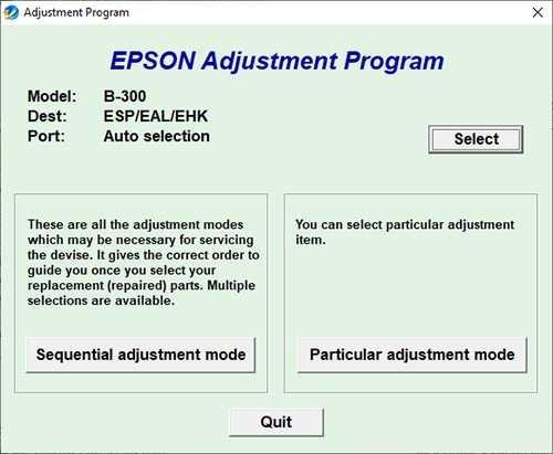 Resetear impresora Epson B-300
