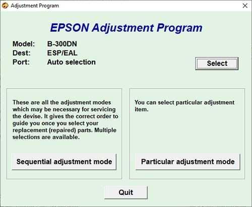 Resetear impresora Epson B-300DN