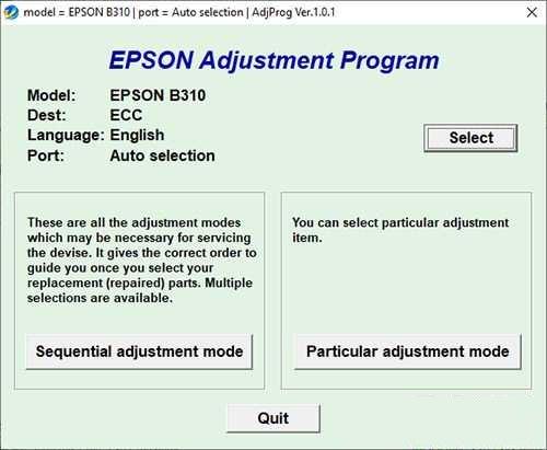 Resetear impresora Epson B-310N