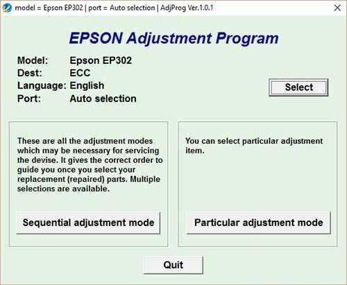 Resetear impresora Epson EP-302