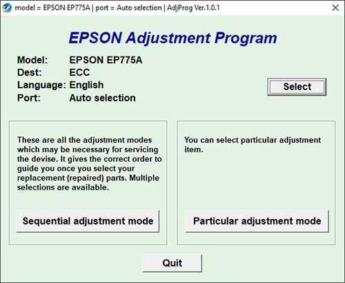 Resetear impresora Epson EP-775AW