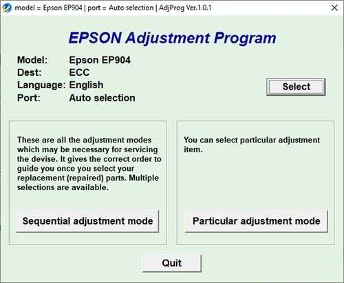 Resetear impresora Epson Stylus EP-904F