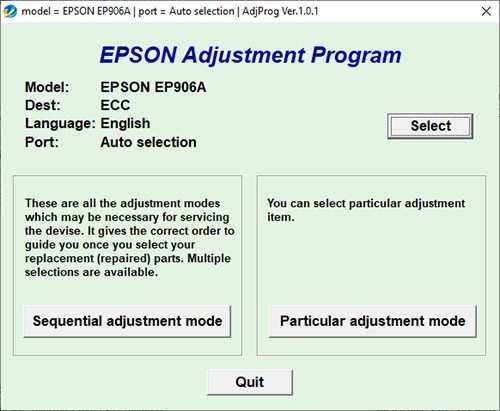 Resetear impresora Epson Stylus EP-906A