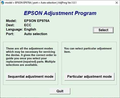 Resetear impresora Epson Stylus EP-976A
