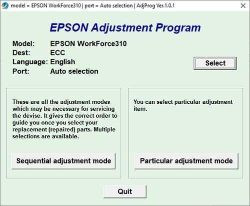 Resetear impresora Epson WorkForce 310