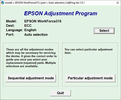 Resetear impresora Epson WorkForce 315