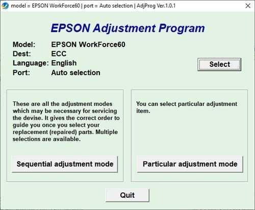 Resetear impresora Epson WorkForce 60
