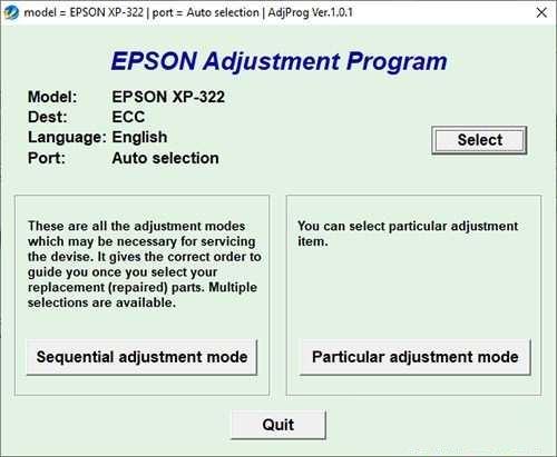 Resetear impresora Epson XP-322