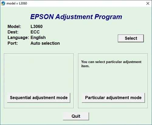 Programa de reinicio de la Epson L3060