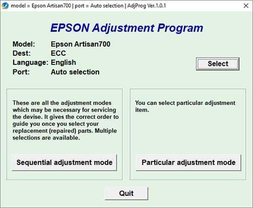 Programa de reseteo Epson Artisan 700