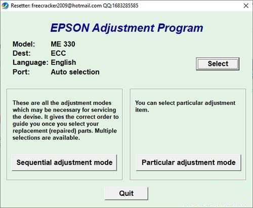 Programa de reseteo Epson ME-330