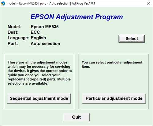 Programa de reseteo Epson ME Office 535