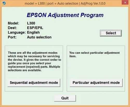 Programa de reseteo de la Epson L300