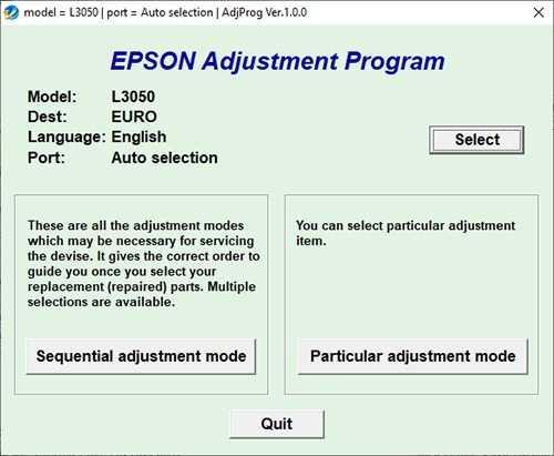 Programa de reseteo de la Epson L3050