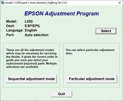 Programa de reseteo de la Epson L550