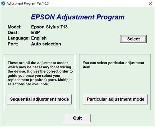 Programa de reseteo de la Epson Stylus T13