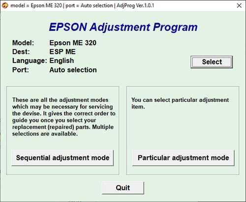 Programa de reseteo Epson ME-320