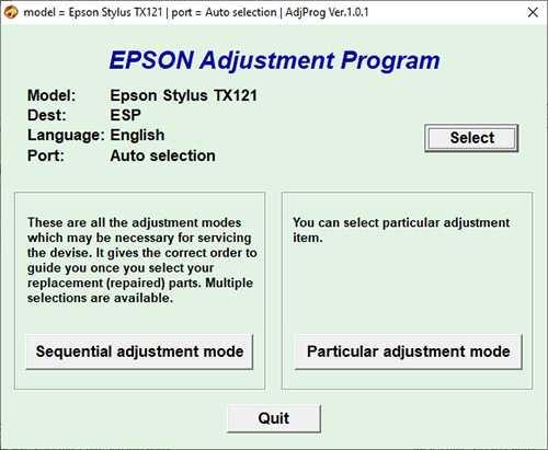 Programa de reseteo Epson Stylus TX121