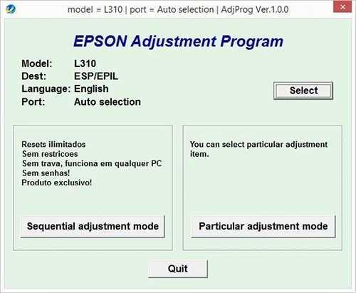 Programa de reseteo de la Epson L310