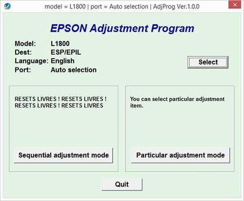 Programa de reinicio de la Epson L1800