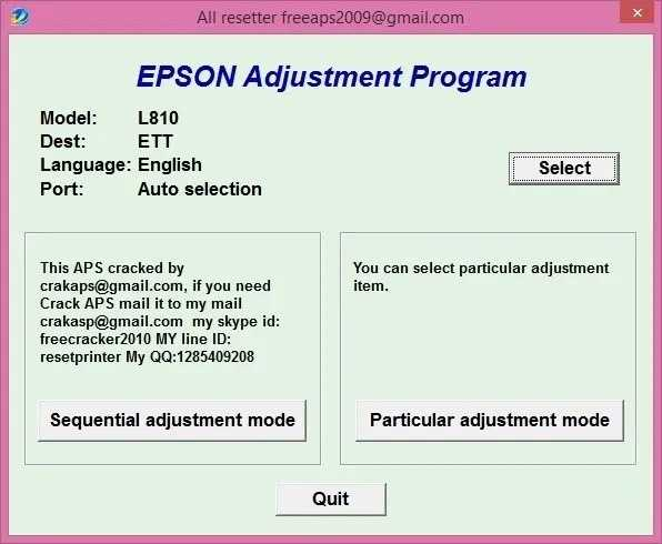 Programa de reinicio de la Epson L810