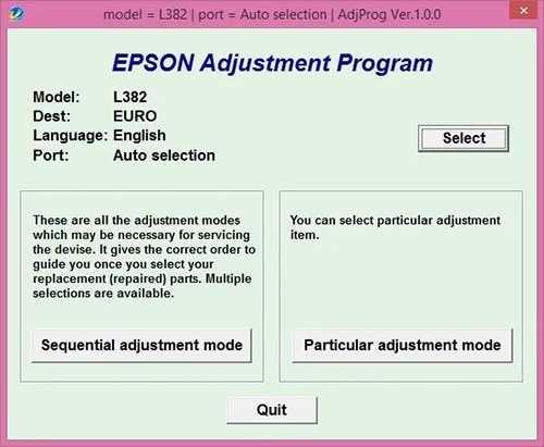 Programa de reseteo Epson L382