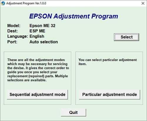 Programa de reseteo Epson ME-32