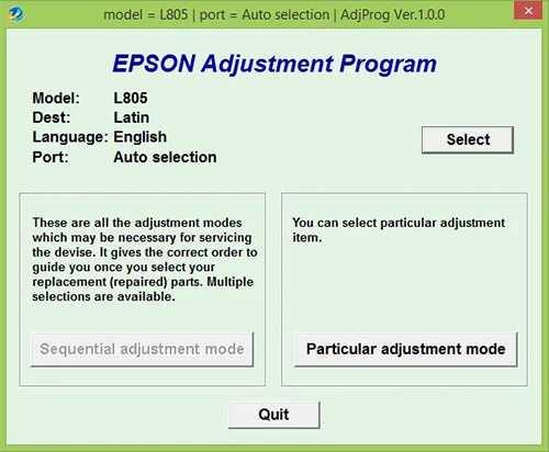 Programa de reseteo de la Epson L805
