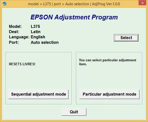 Programa de reinicio de la Epson L375