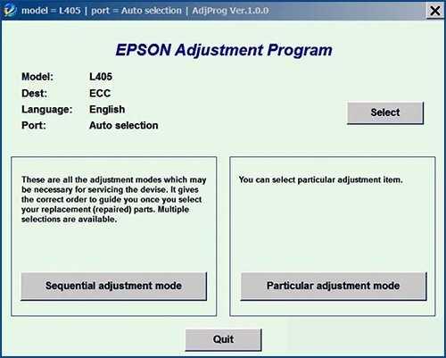 Programa de reinicio de la Epson L405