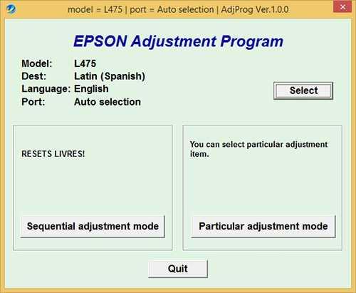 Programa de reinicio de la Epson L475