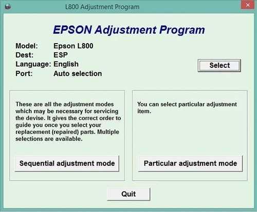Programa de reinicio de la Epson L800