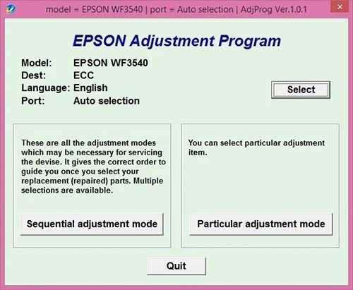 Programa de reseteo de Epson WorkForce WF-3540