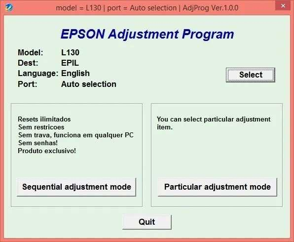 Programa de reinicio de la Epson L130