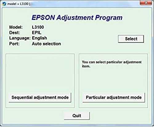 Programa de reinicio de la Epson L3100