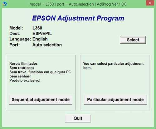 Programa de reinicio de la impresora Epson L360