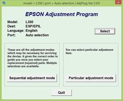 Programa de reinicio de la Epson L350