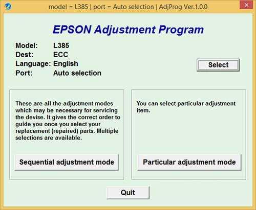 Programa de reinicio de la Epson L385