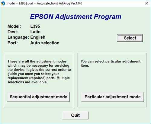 Programa de reinicio de la Epson L395